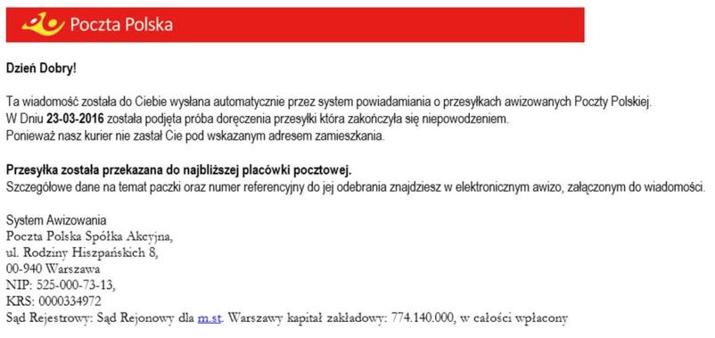 Fałszywa wiadomość od Poczty Polskiej /materiały prasowe