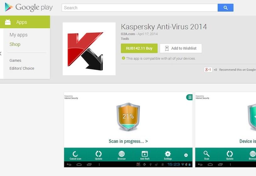 Fałszywy antywirus w sklepe Google Play. /materiały prasowe