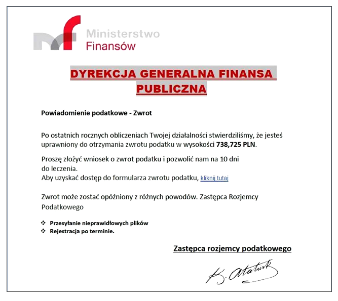 Fałszywy e-mail /Ministerstwo Finansów /