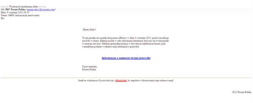 Fałszywy mail od osoby podszywajace się pod Pocztę Polską /materiały prasowe