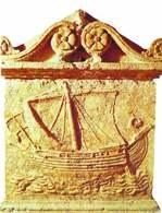 Fenicka sztuka: płaskorzeźba przedstawiająca fenicki statek, II w. p.n.e. /Encyklopedia Internautica