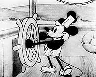 """Film Stanów Zjednoczonych: Walt Disney, Myszka Miki w scenie z fimu  """"Parowiec Willie"""" (Steamboat W /Encyklopedia Internautica"""