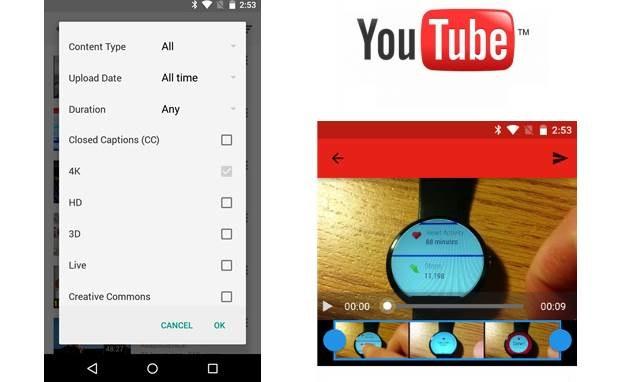 Filtr wyszukujący filmy w wersji 4K - oto jedna z nowości oferowanych przez nową wersję aplikacji YouTube dla Androida /materiały prasowe