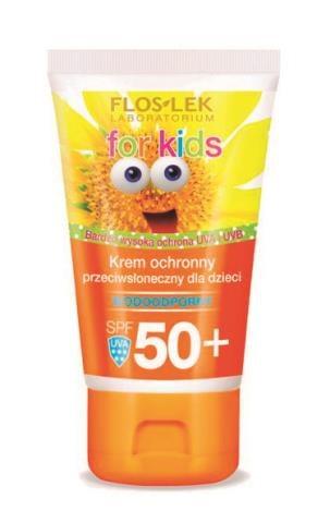 Flos-Lek Krem ochronny przeciwsłoneczny   SPF 50+ dla dzieci  w każdym wieku, wodoodporny,  ok. 15 zł/50 ml. /Mat. Prasowe