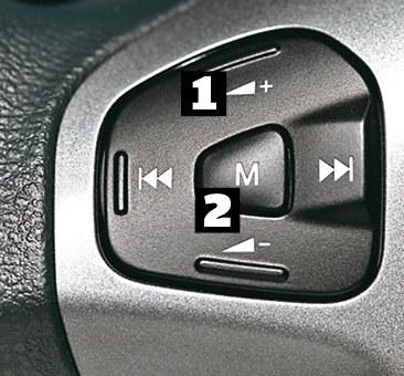 Ford Przycisk [1] odpowiada za głośność (góra-dół) oraz zmianę stacji lub utworu (prawo-lewo). [2] przechodzi pomiędzy zapamiętanymi stacjami. /Motor