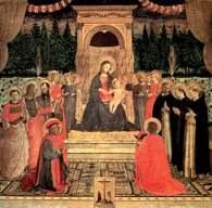Fra Angelico, Dziewica z Dzieciątkiem na tronie w otoczeniu Aniołów i Świętych, 1438-40 /Encyklopedia Internautica