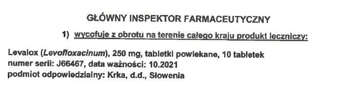 Fragment decyzji GIF /Główny Inspektorat Farmaceutyczny