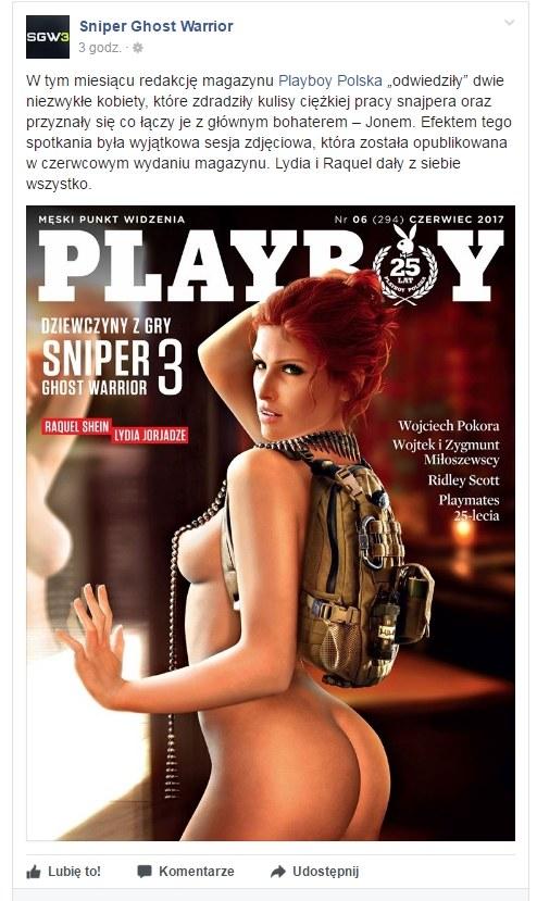 Fragment posta zamieszczone na oficjalnym profilu gry - Sniper: Ghost Warrior 3 - w serwisie społecznościowym Facebook /materiały źródłowe