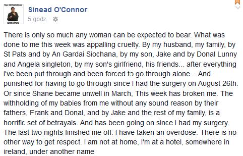 Fragment postu Sinead O'Connor na Facebooku /Facebook /