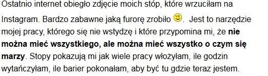 """Fragment wpisu, który Agnieszka Kaczorowska zamieściła na swoim blogu /Printscreen z bloga """"Tancerką Być"""" /INTERIA.PL"""