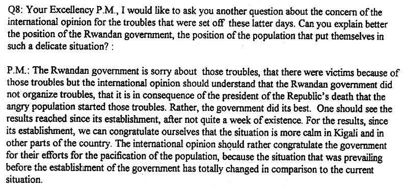 Fragment wywiadu przeprowadzonego przez rwandyjskie radio RTLM 14 kwietnia 1994 roku z premierem Jeanem Kambandą /http://migs.concordia.ca /