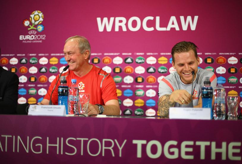 Franciszek Smuda i jego odkrycie dla reprezentacji Polski - Eugen Polanski, podczas Euro 2012. /AFP
