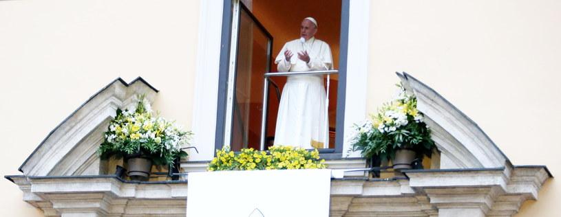 Franciszek w oknie papieskim /Grzegorz Momot /PAP