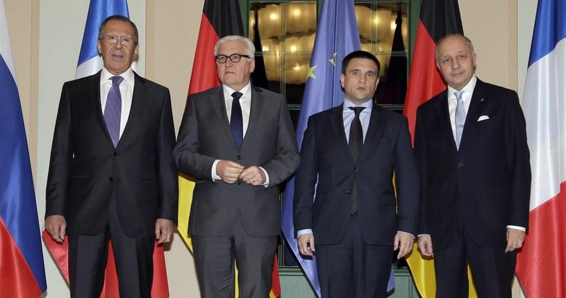 Frank-Walter Steinmeier, Laurent Fabius, Siergiej Ławrow i Pavlo Klimkin na spotkaniu w Berlinie /PAP/EPA