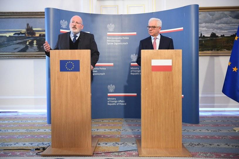Frans Timmermans i Jacek Czaputowicz /Jacek Turczyk /PAP