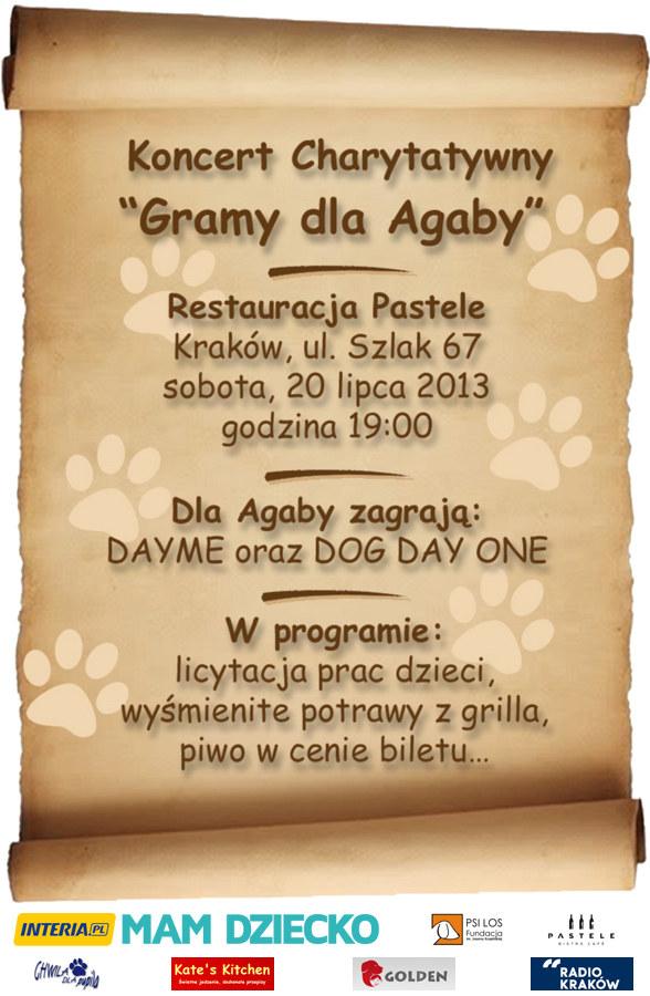"Fundacja Psi Los organizuje koncert charytatywny ""Gramy dla Agaby"" /INTERIA.PL"