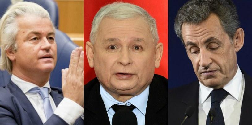 Geert Wilders, Jarosław Kaczyński, Nicolas Sarkozy /AFP