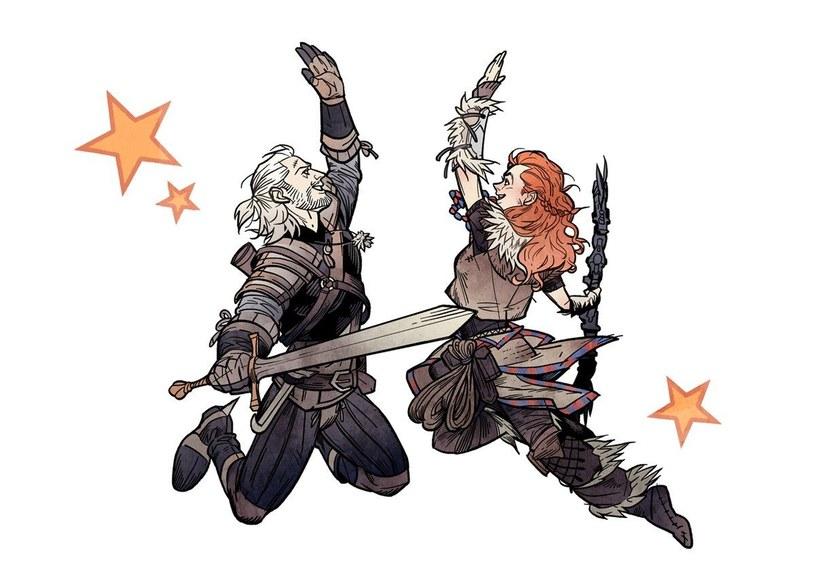 """Geralt i Aloy zbijają """"piątaka"""" /materiały źródłowe"""