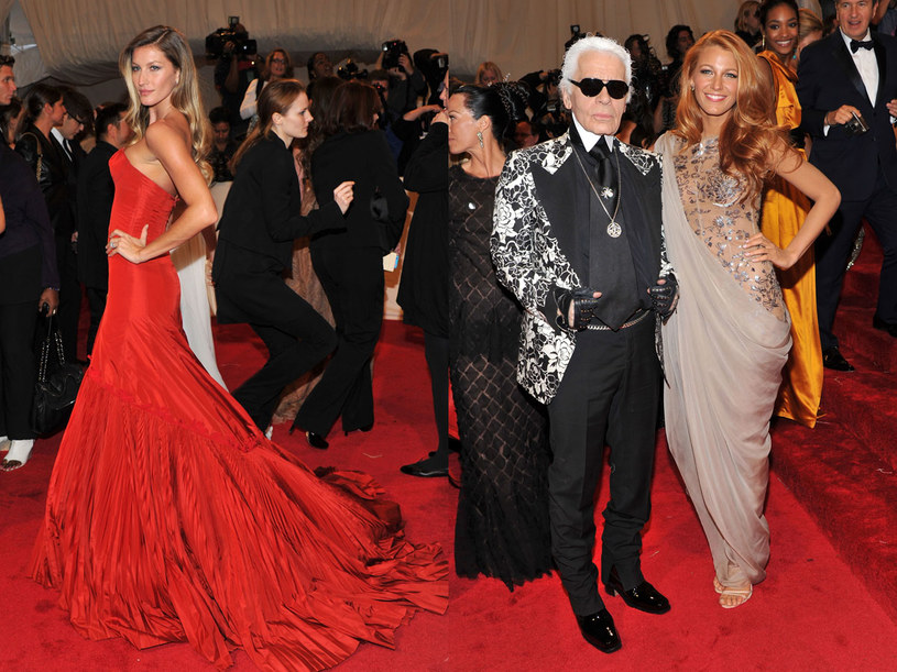 Giselle Bundchen i Karl Lagerfeld z Blake Lively  /Getty Images/Flash Press Media