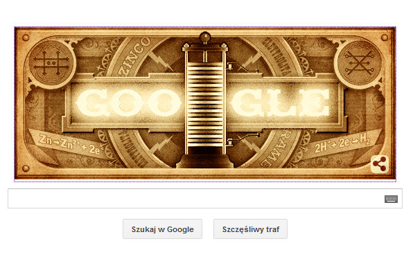 Google Doodle na cześć Alessandro Volty. /materiały prasowe