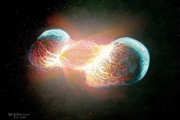 Grafika ilustracyjna przedstawiająca zderzenie dwóch planet. Fot. William K. Hartmann /materiały prasowe
