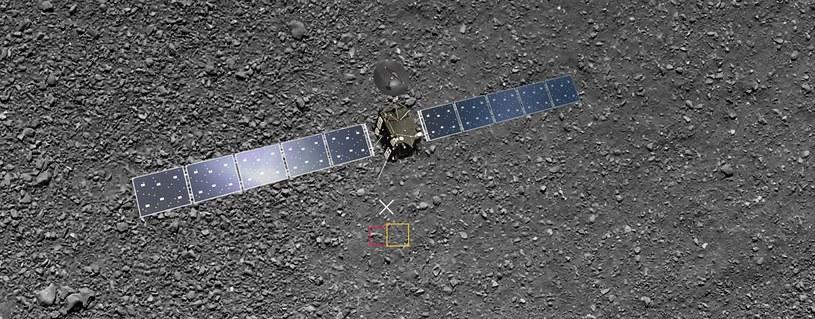 Grafika pokazująca dwa ostatnie zdjęcia z misji Rosetta (na czerwono obszar z ostatniego zrekonstruowanego zdjęcia) /materiały prasowe