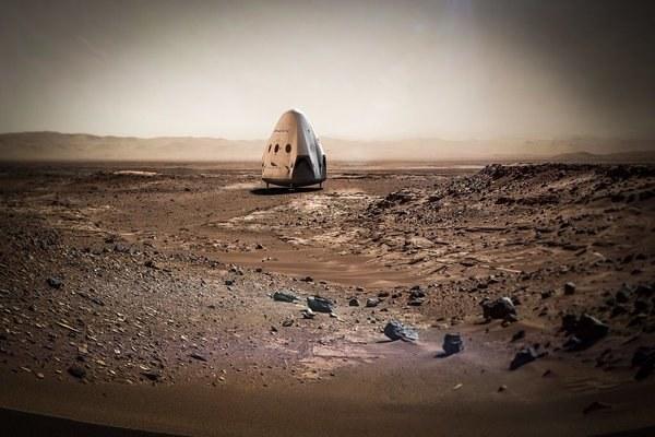 Grafika prezentująca kapsułę Red Dragon na Marsie /materiały prasowe