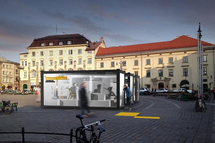 Grafika użytkowa i produkty umieszczone zostaną w trzech przeszklonych kontenerach na pl. Szczepańskim /materiały prasowe