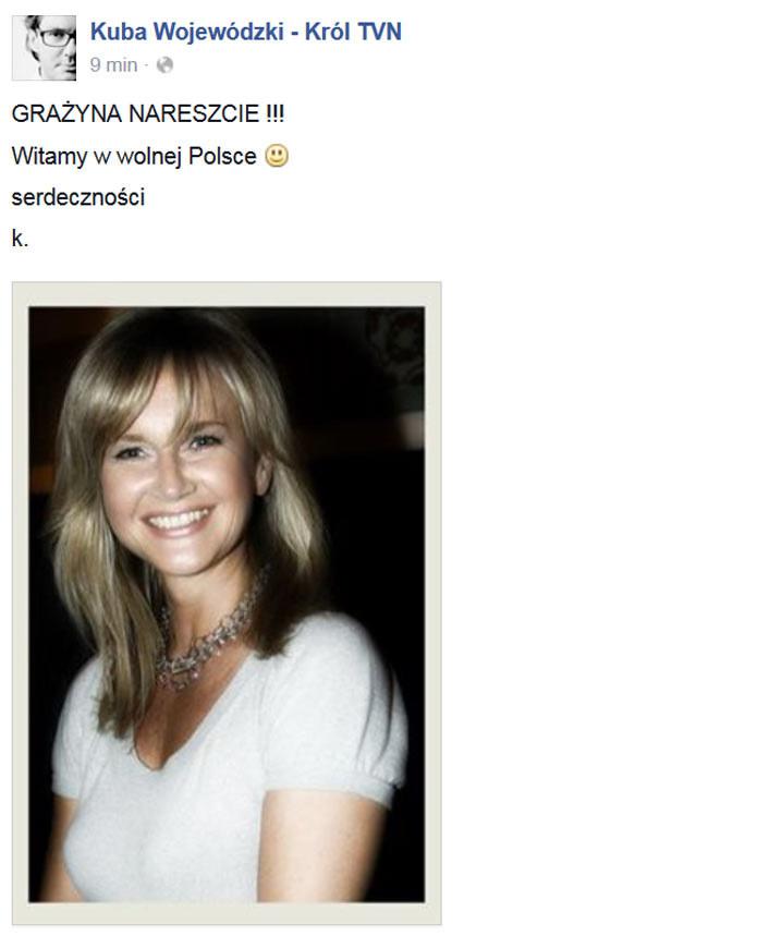 Grażynie Torbickiej pogratulował też Kuba Wojewódzki /Kuba Wojewódzki - Król TVN /Facebook