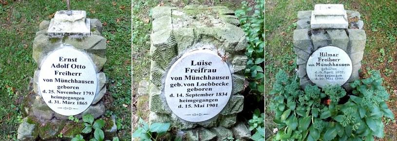 Grób barona Ernsta Otto Adolfa von Münchhausen, baronowej Louise von Münchhausen, barona Hilmara von Münchhausen. Fot. D. Pietrucha. /Odkrywca