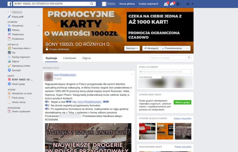 Grupa na Facebooku oferująca bony do drogerii /materiały prasowe