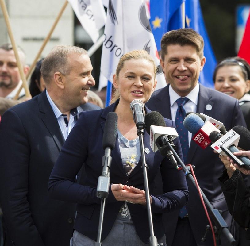 Grzegorz Schetyna, Barbara Nowacka, Ryszard Petru /Andrzej Hulimka  /Reporter