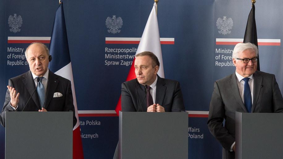 Grzegorz Schetyna, Frank-Walter Steinmeier Laurent Fabius /Maciej Kulczyński /PAP