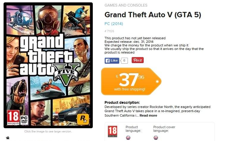 GTA V w wersji PC z podaną datą premiery w sieci sklepów Coolshop /materiały prasowe
