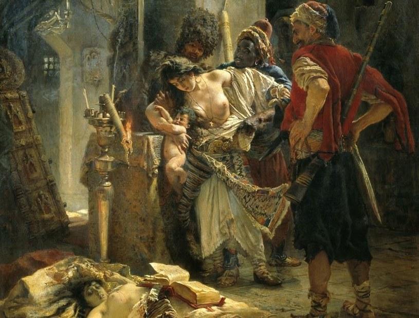 """Gwałt w czasie wojen był przez wieki na porządku dziennym. Konstantin Makowski, """"Bułgarskie męczennice"""", 1877 /Wikimedia Commons – repozytorium wolnych zasobów /INTERIA.PL/materiały prasowe"""