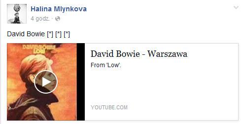 Halina Mlynkova o śmierci Davida Bowiego /