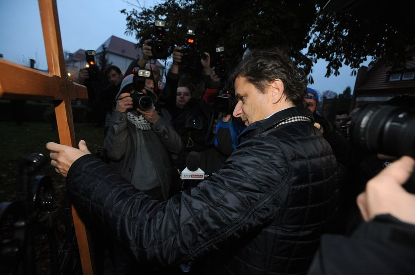 Happening Palikota przed siedzibą Kurii Metropolitalnej Gdańskiej /Wojciech Stróżyk /Reporter