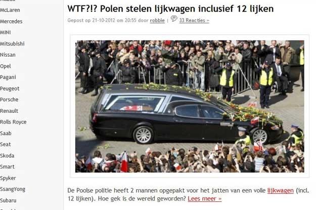 Holenderski wortal informację o kradzieży  zilustrował zdjęciem z pogrzebu  Lecha Kaczyńskiego /