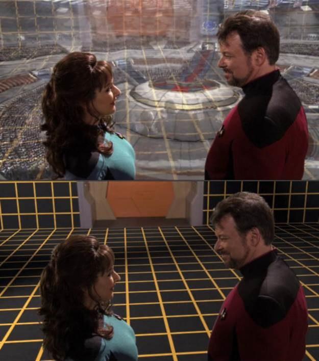 """Holodeck - technologia tworząca projekcę świata wokół osoby, która przebywa w pomieszczeniu (w Holodecku) - kadr z produkcji """"Star Trek"""". /materiały prasowe"""