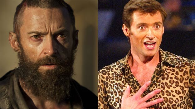 "Hugh Jackman dzisiaj (L - w musicalu ""Nędznicy"") i 10 lat temu (P). /Getty Images/Flash Press Media"