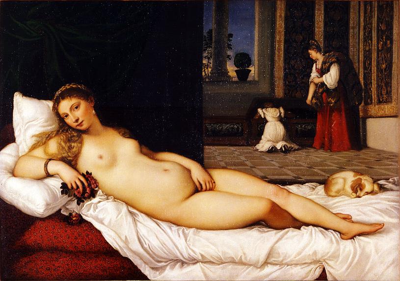 """Hybristika była uroczystą ucztą odbywającą się w starożytnym mieście Argos ku czci Afrodyty. Było to jedyne takie święto, podczas którego mężczyźni i kobiety wymieniali się strojami. Na ilustracji obraz pędzla Titiana przedstawiający """"Wenus z Urbino"""" (domena publiczna)"""