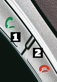 Hyundai ma typowy, bardzo przejrzysty układ przycisków. Przyciskiem z zieloną słuchawką [1] odbiera się połączenie, a czerwoną [2] kończy lub odrzuca. /Motor