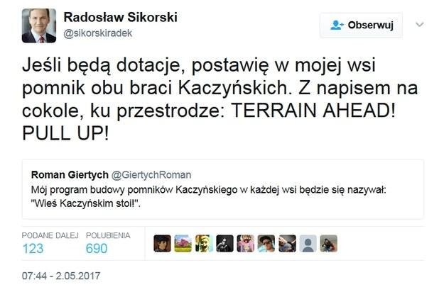 I głos w dyskusji Radosława Sikorskiego /Twitter