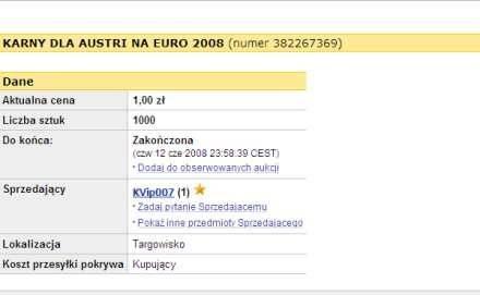 """""""Ile kosztuje karny dla Austrii?"""" Screen z """"allegro.pl"""" /Internet"""