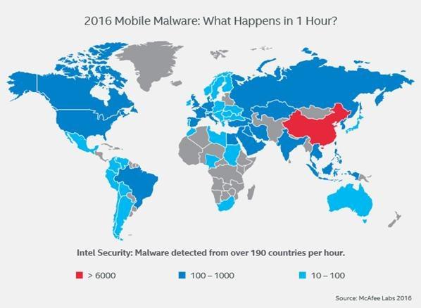 Ile złośliwego oprogramowania na urządzenia mobilne pojawia się w poszczególnych krajach co godzinę? /materiały prasowe