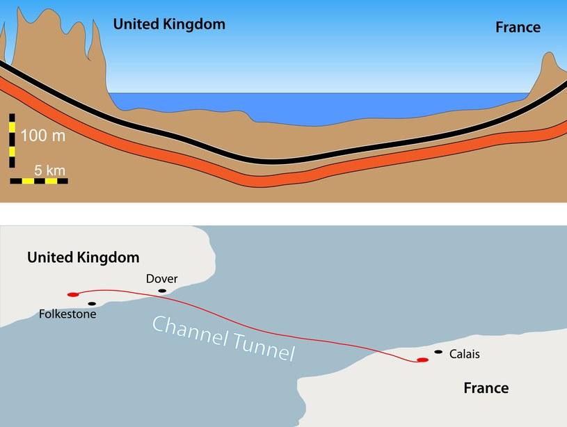Ilustracja przedstawiająca tunel pod kanałem La Manche /123RF/PICSEL