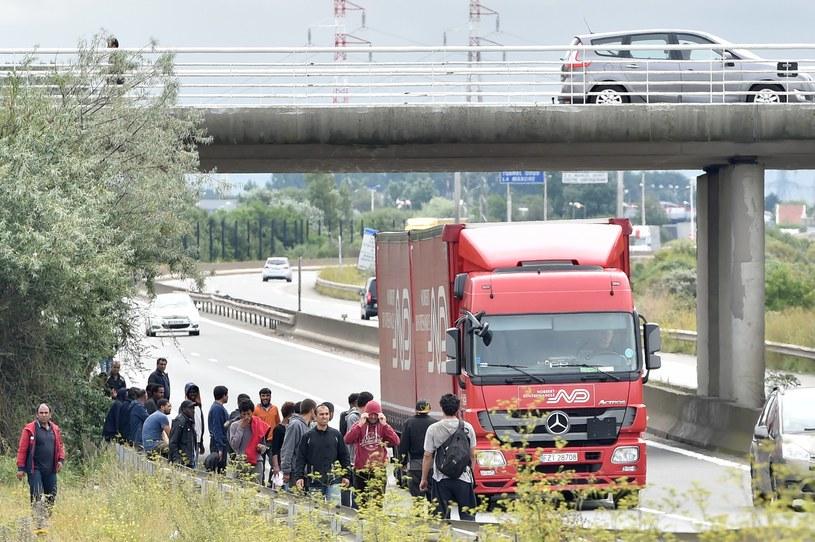 Imigranci próbują przedostać się na ciężarówkach do Wielkiej Brytanii /PHILIPPE HUGUEN /AFP