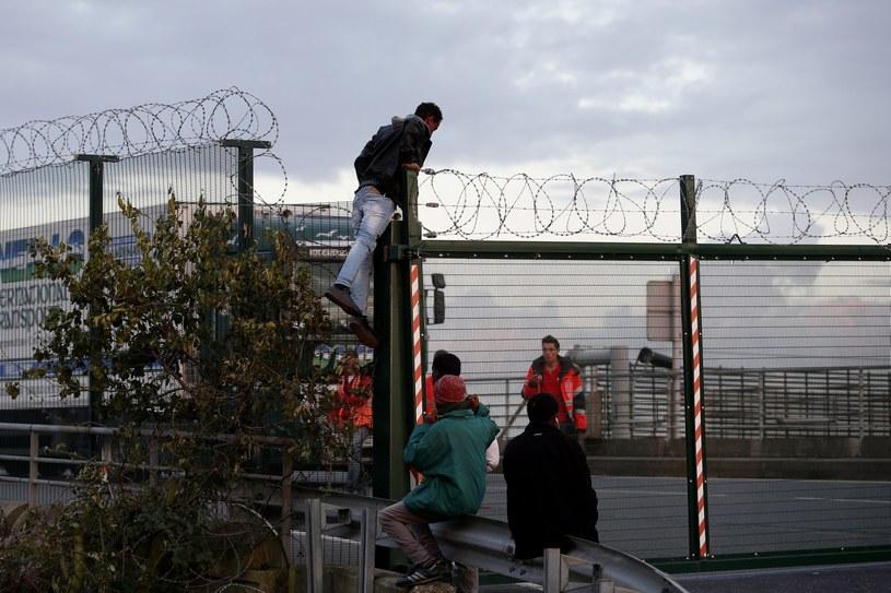 Imigranci próbują przedostać się przez ogrodzenie /YOAN VALAT  /PAP/EPA