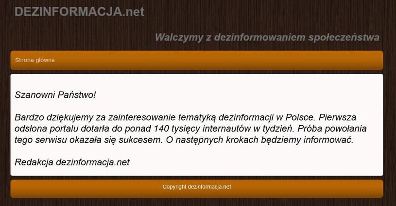 Informacja na portalu /